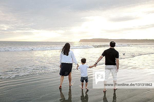 Rückansicht von Eltern und Sohn beim Strandspaziergang vor bewölktem Himmel bei Sonnenuntergang