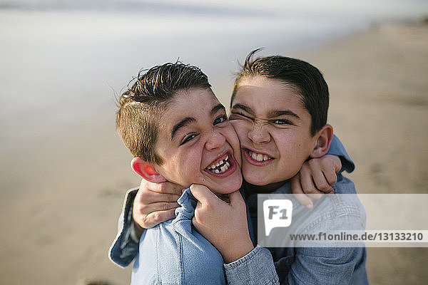High angle portrait of happy brothers standing at beach