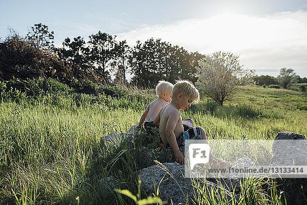 Brüder ohne Hemd sitzen auf einem Felsen inmitten eines Grasfeldes gegen den Himmel