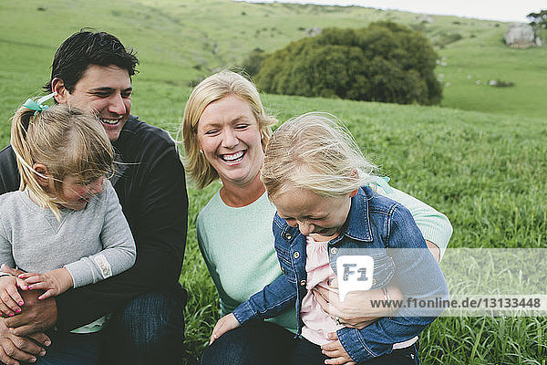 Cheerful family sitting on grassy field