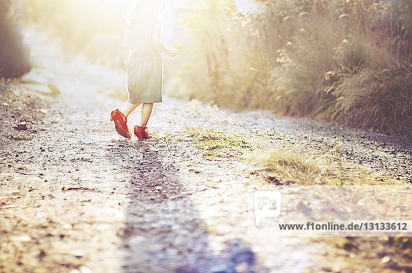 Rear view of girl walking on footpath during sunny day
