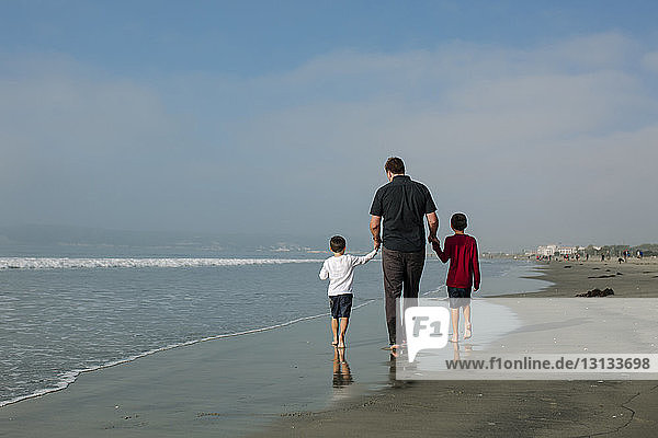 Rear view of father holding sons hands while walking on shore against sky at beach