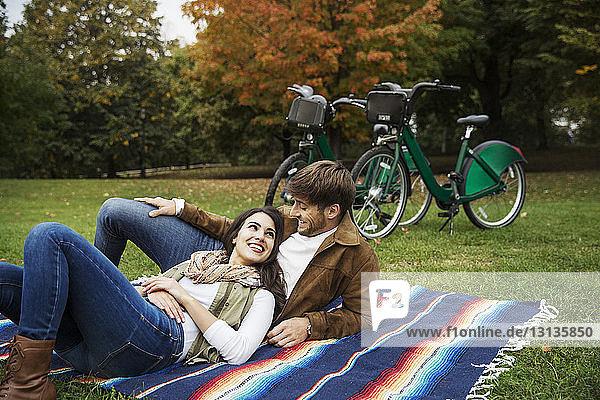 Glückliches Paar sieht sich an  während es sich auf einer Decke im Park entspannt