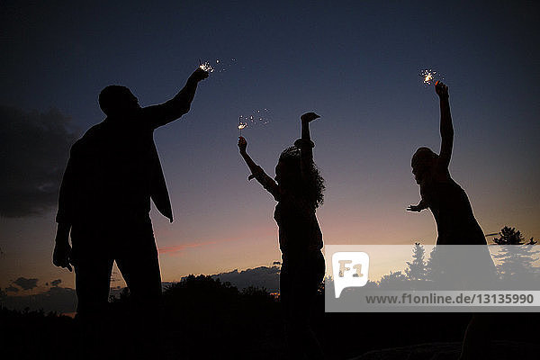 Silhouette of friends playing with sparklers against sky at night