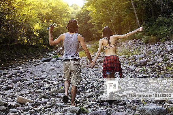 Rückansicht eines Paares  das sich beim Gehen auf Felsen im Wald an den Händen hält