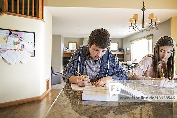 Sibling writing in book on table at home