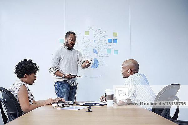 Geschäftsmann erklärt Kollegen im Sitzungssaal