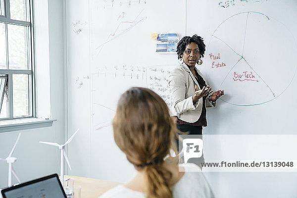 Geschäftsfrau erklärt Kollegen  während sie im Büro am Whiteboard steht