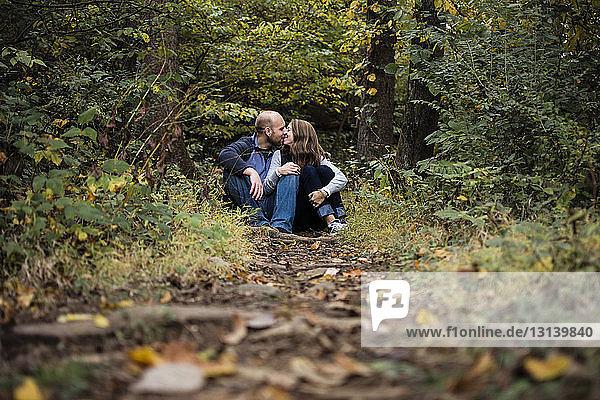 Paar küsst sich auf einem Feld im Wald sitzend