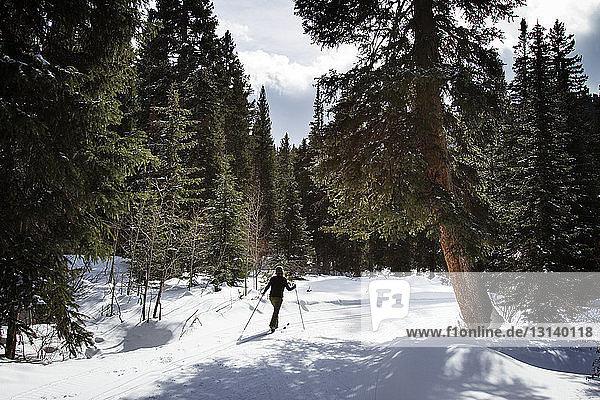 Rückansicht einer Skifahrerin auf schneebedecktem Feld in voller Länge