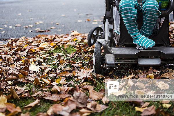 Niedriger Teil eines Jungen  der auf einem Kinderwagen sitzt