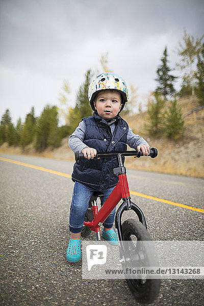 Cute baby boy riding bicycle on country road
