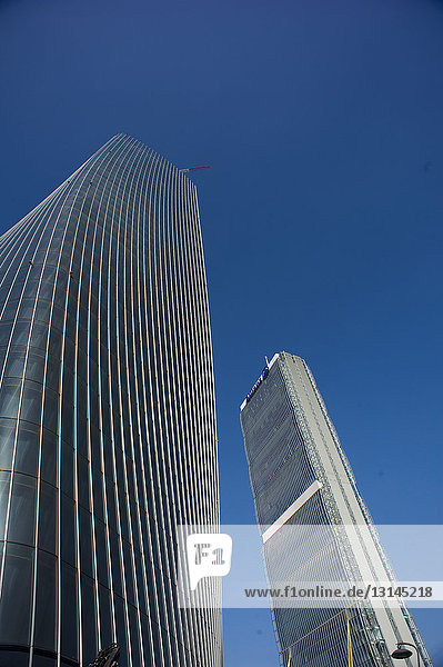 Europe. Italy. Lombardy. Milan. Skyscraper in Citylife district  Torre Hadid (185 m) designed by Zaha Hadid nicknamed the Storto