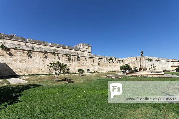 Italy  Apulia  Lecce  Fontana dell'Armonia and Carlo V castle