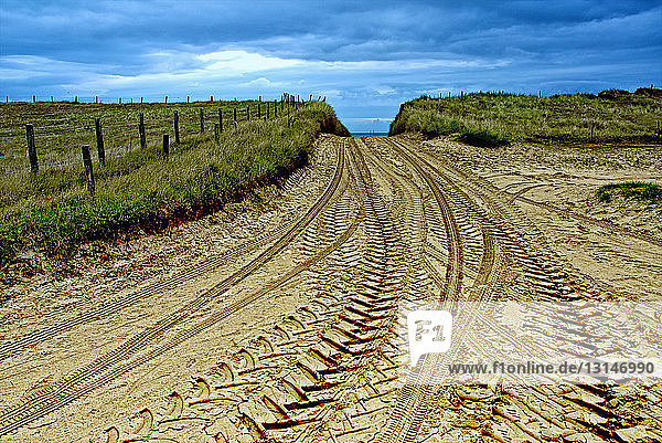 Tire tracks on dirt road in Normandy  France
