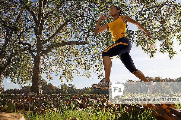 Running in autumnal park