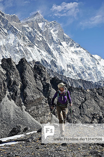 Female trekker  Chhukung  Nepal