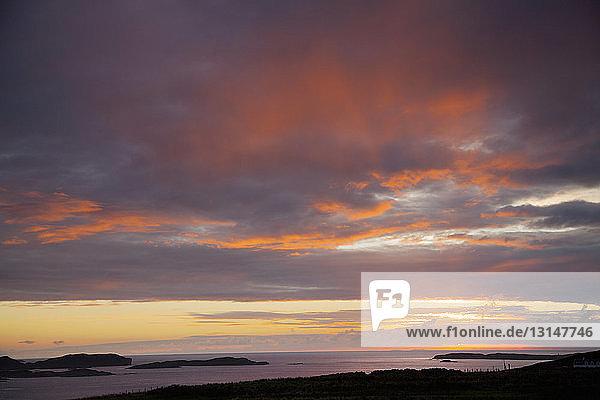 Sunset over islands  Highland  Scotland