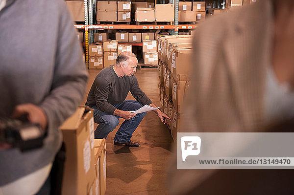 Warehouse worker doing stock take