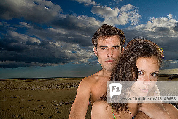Sexy couple portrait at beach