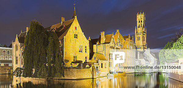 Canals of Bruges and Belfort  Belfry of Bruges  Belgium