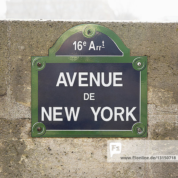 Close up of street sign  avenue de New York  Paris  France