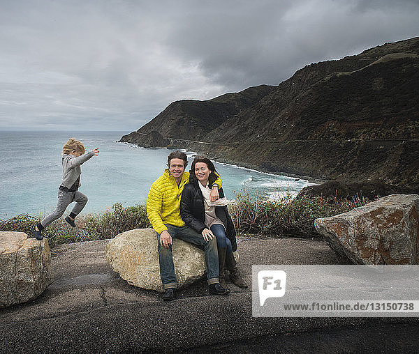 Portrait of couple and son at Hurricane Point  Big Sur  California  USA