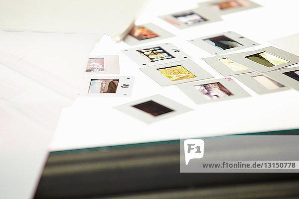 Photographic slides on lightbox