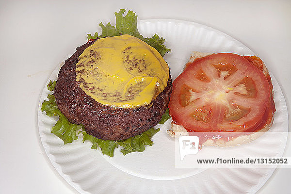 Hamburger with mustard and tomato