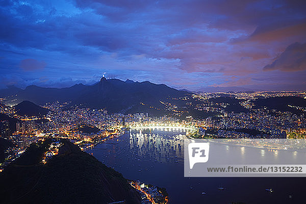 View of harbor and coast from sugar loaf mountain at night  Rio De Janeiro  Brazil