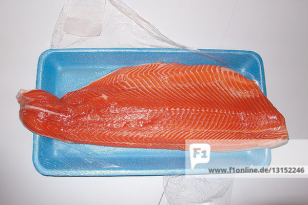 Salmon fillet on food tray