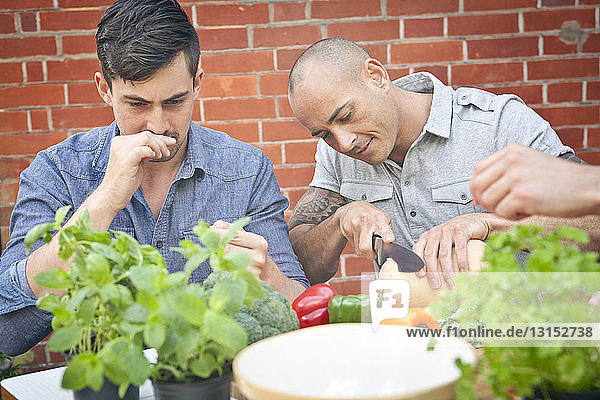 Male friends preparing food with herbs for garden barbecue