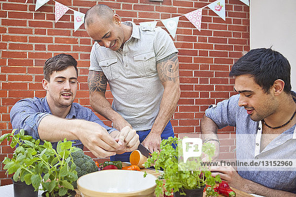 Three male friends chopping and preparing food for garden barbecue