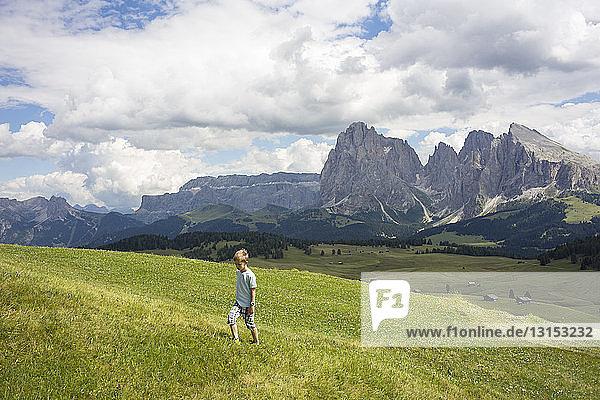 Boy walking up hill  Alto Alige  South Tyrol  Italy