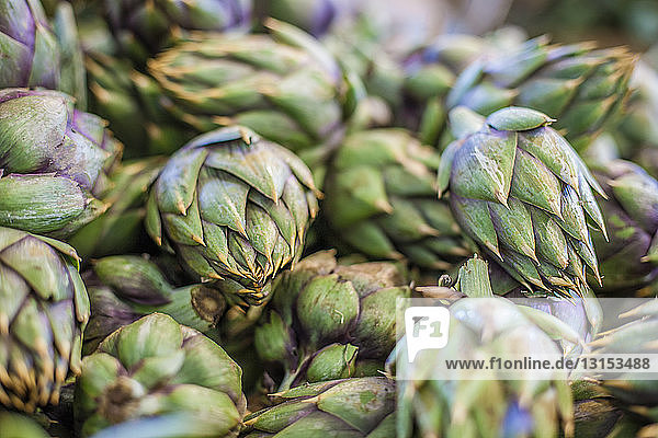 Pile of artichokes  full frame  close-up