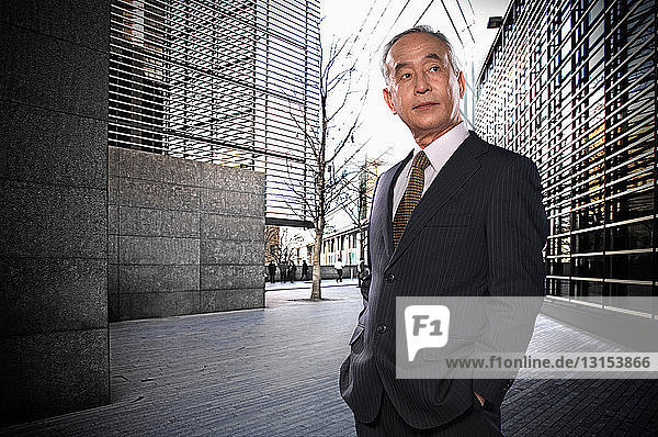 Businessman in city setting