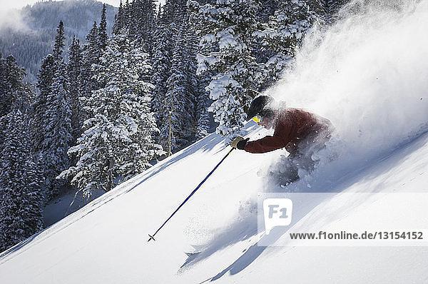 Man skiing at Solitude Mountain Resort  Utah  USA