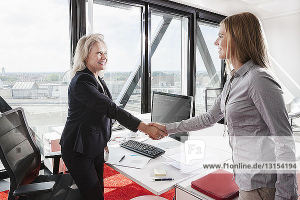 Two women shaking hands in office