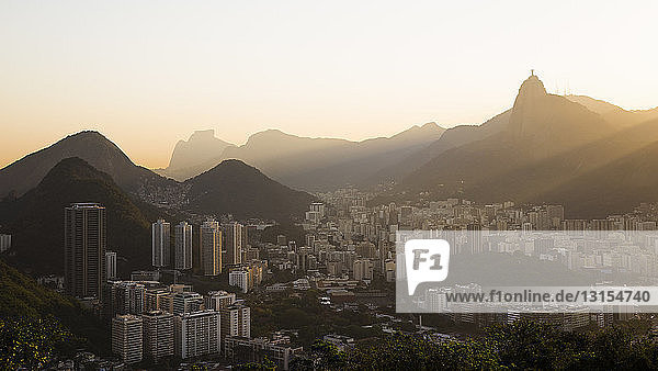 Distant view of Christ the Redeemer at dawn  Rio De Janeiro  Brazil