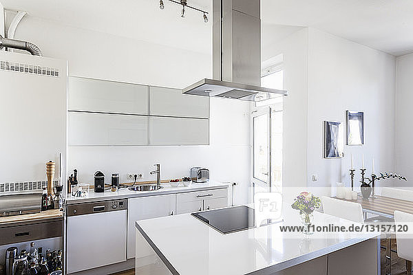 Modern white coloured kitchen with kitchen island