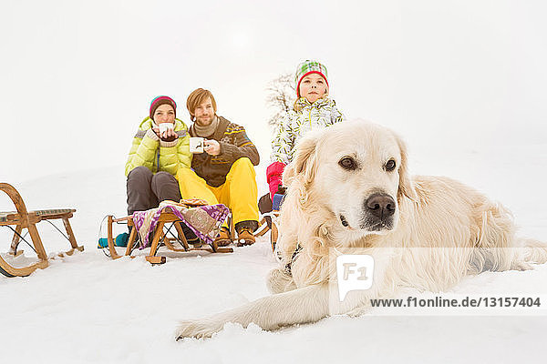 Dog lying in snow with family in background