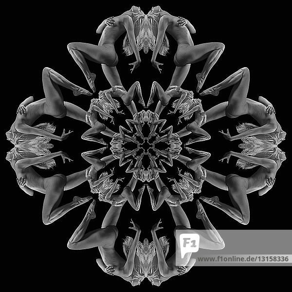 Multiple image kaleidoscope of nude woman with hand on breast against black background  B&W Multiple image kaleidoscope of nude woman with hand on breast against black background, B&W