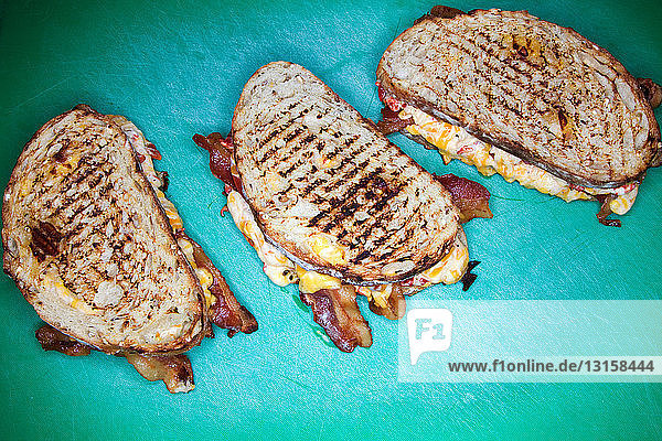 Three grilled cheese sandwiches