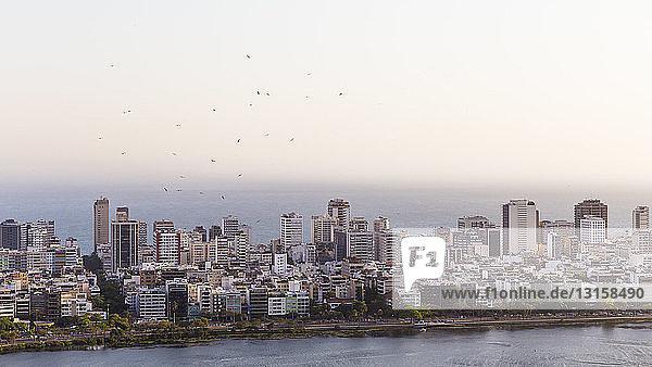 Ipanema cityscape and Lagoa Rodrigo de Freitas  Rio De Janeiro  Brazil