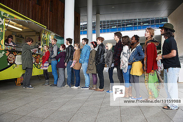 People in line for food cart