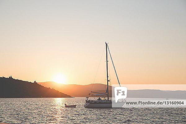 Yacht at sunset  Sigacik  Seferihisar  Turkey