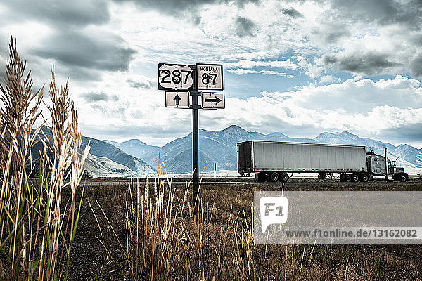 Truck on highway  Wyoming  USA