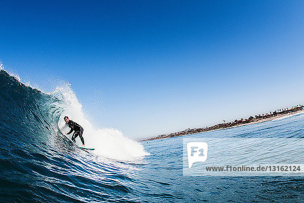 Mid adult male surfer surfing curved wave  Carlsbad  California  USA