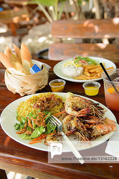 Plate of seafood at restaurant