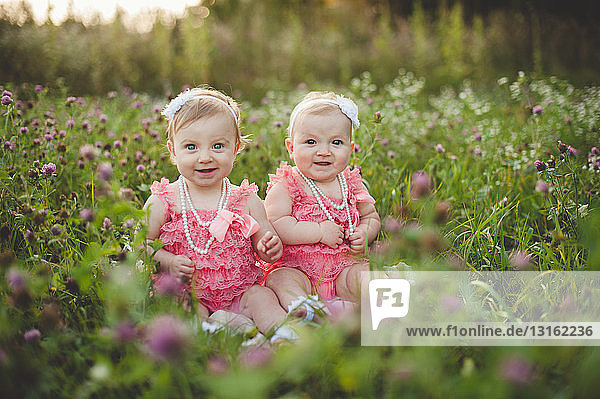 Portrait of baby twin sisters sitting in wild flower meadow wearing pink party dresses